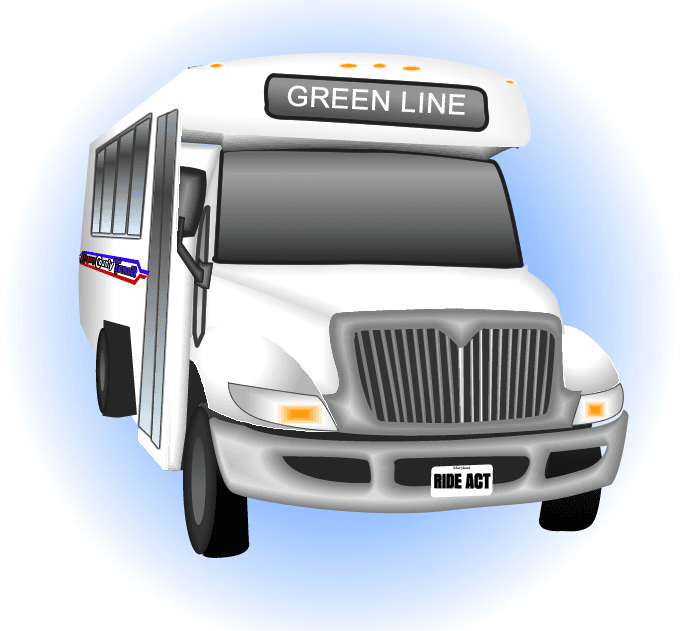 Clip Art of an Allegany County Transit bus with the words, &#34Green Line&#34 on it.