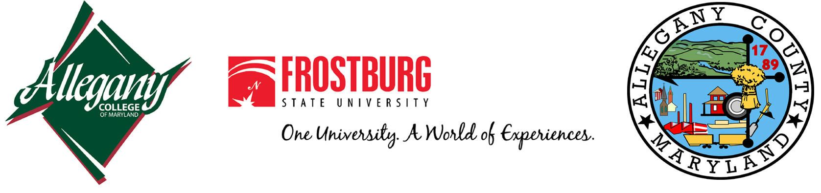 A banner of logos for Allegany College of Maryland, Frostburg State University, and the Allegany Cou
