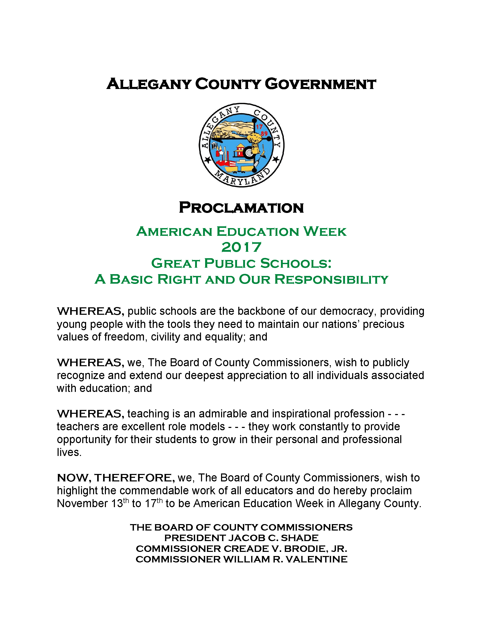American Education Week 2017 Proclamation
