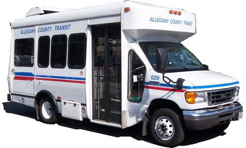 "White Alltrans van with decals reading, ""Allegany County Transit."" Opens in new window"